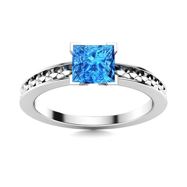 Natural 0.81 CTW Topaz Solitaire Ring 18K White Gold