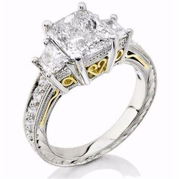 Natural 4.02 CTW Radiant Cut & trapezoids Diamond Ring 18KT Two Tone