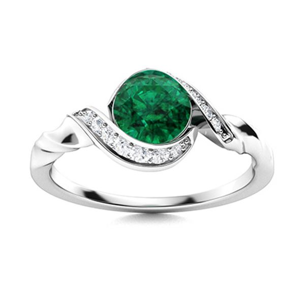 Natural 1.70 CTW Emerald & Diamond Engagement Ring 18K White Gold