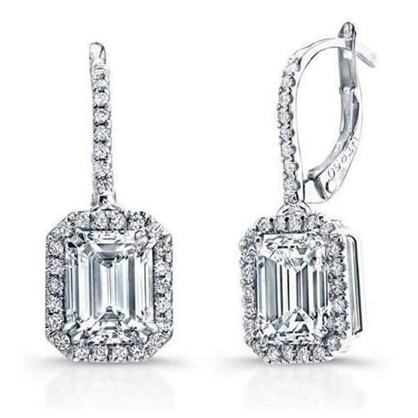 Natural 1.52 CTW Emerald Cut U-Pave Lever Back Halo Diamond Earrings 18KT White Gold