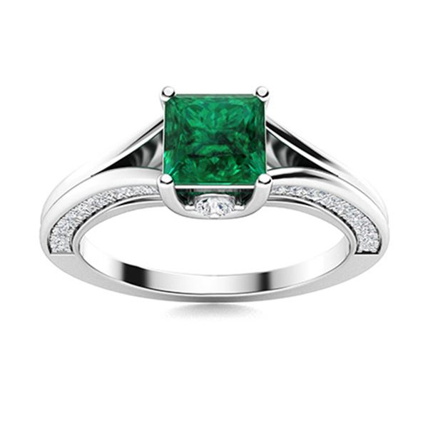 Natural 1.48 CTW Emerald & Diamond Engagement Ring 18K White Gold