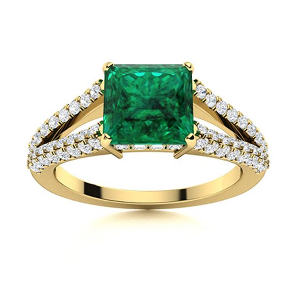 Natural 1.56 CTW Emerald & Diamond Engagement Ring 18K Yellow Gold
