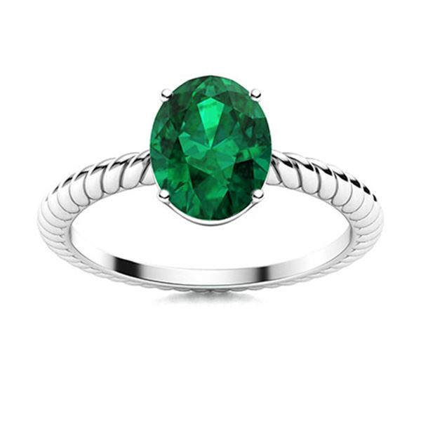 Natural 0.80 CTW Emerald Solitaire Ring 14K White Gold