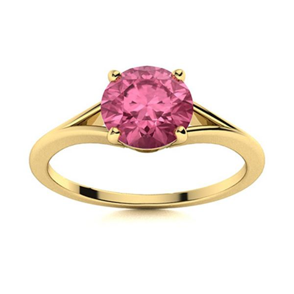 Natural 1.42 CTW Tourmaline Solitaire Ring 18K Yellow Gold