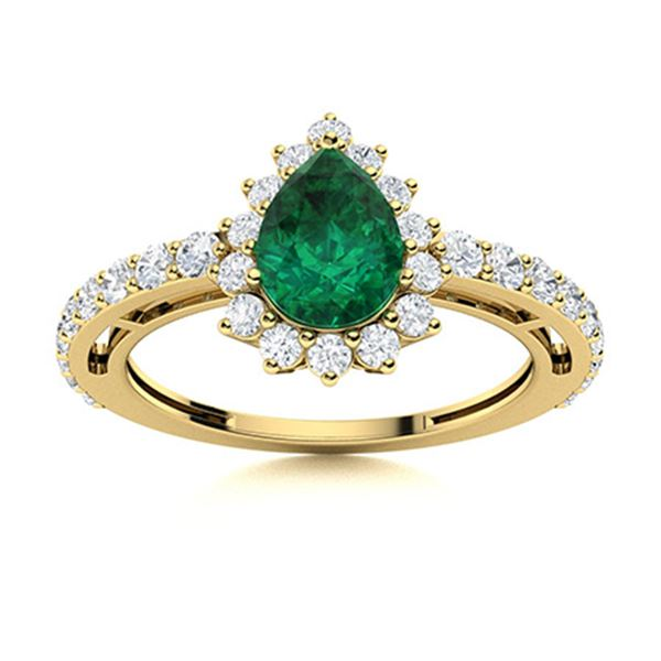 Natural 1.37 CTW Emerald & Diamond Engagement Ring 18K Yellow Gold
