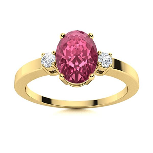 Natural 1.38 CTW Pink Sapphire & Diamond Engagement Ring 18K Yellow Gold