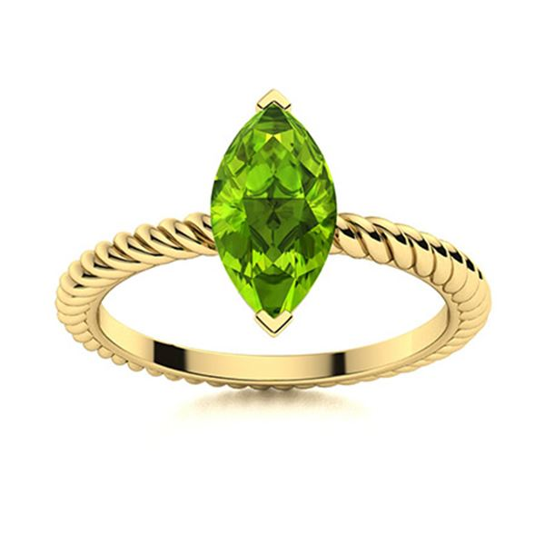 Natural 0.27 CTW Peridot Solitaire Ring 18K Yellow Gold