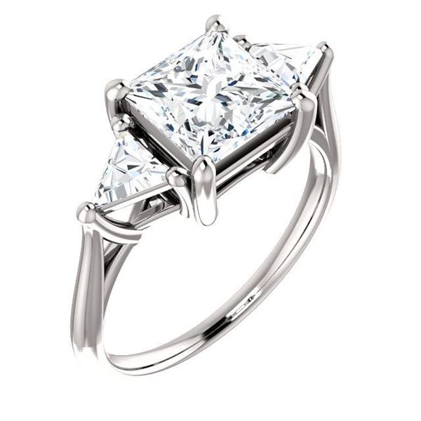 Natural 2.82 CTW 3-Stone Princess Cut & Trillions Diamond Ring 14KT White Gold
