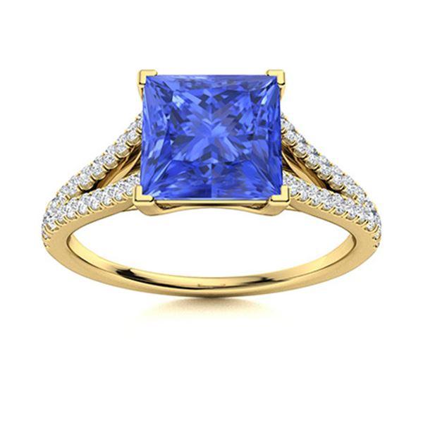 Natural 1.17 CTW Ceylon Sapphire & Diamond Engagement Ring 18K Yellow Gold