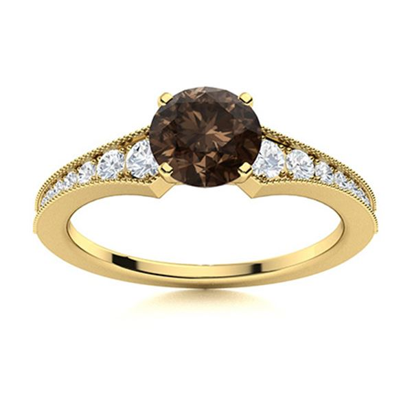 Natural 1.45 CTW Smoky Quartz & Diamond Engagement Ring 14K Yellow Gold