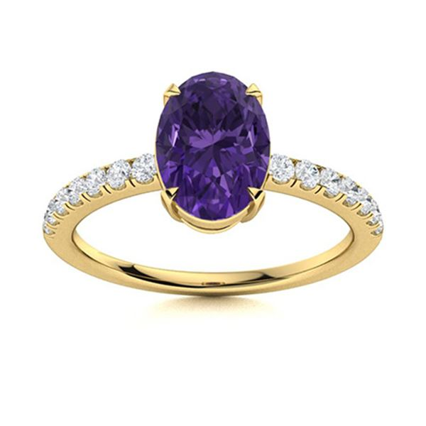 Natural 1.36 CTW Amethyst & Diamond Engagement Ring 14K Yellow Gold