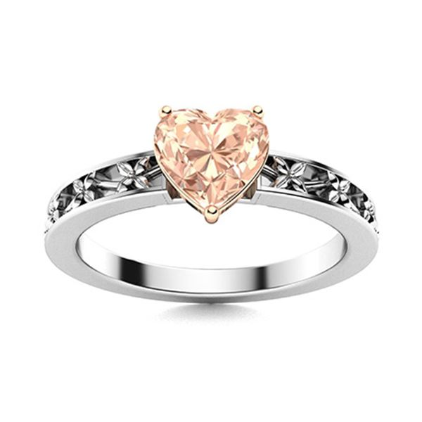 Natural 0.71 CTW Morganite Solitaire Ring 14K White Gold