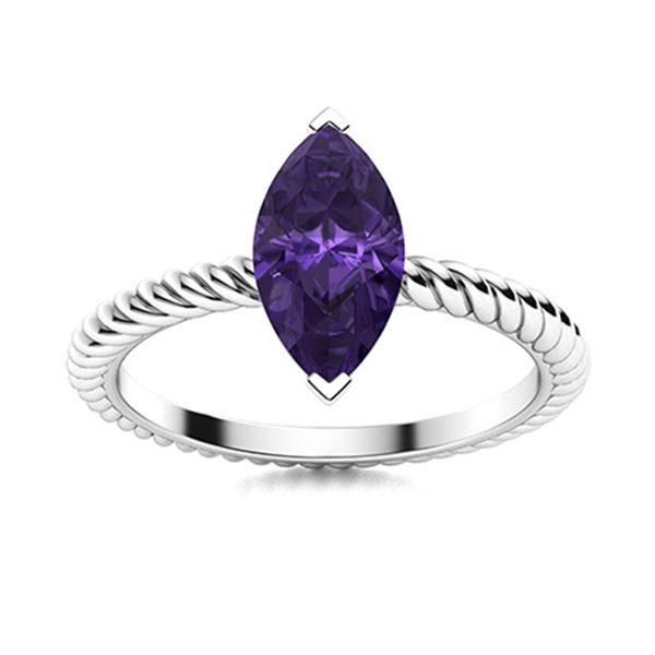 Natural 0.27 CTW Amethyst Solitaire Ring 18K White Gold