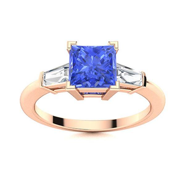 Natural 1.67 CTW Ceylon Sapphire & Diamond Engagement Ring 18K Rose Gold