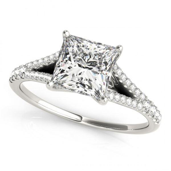 Natural 0.81 ctw Princess Diamond Ring 14k White Gold
