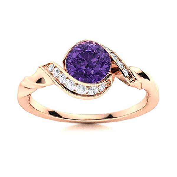 Natural 0.74 CTW Amethyst & Diamond Engagement Ring 14K Rose Gold