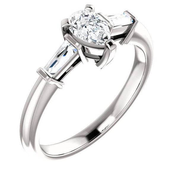 Natural 1.02 CTW Pear Cut & Baguette 3-Stone Diamond Ring 14KT White Gold