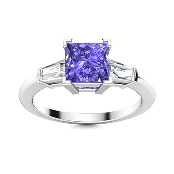 Natural 1.61 CTW Tanzanite & Diamond Engagement Ring 18K White Gold