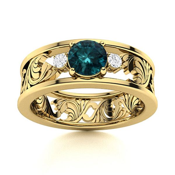 Natural 0.53 CTW Blue Diamond Solitaire Ring 18K Yellow Gold
