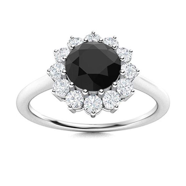 Natural 1.18 CTW Black & White Diamond Engagement Ring 18K White Gold
