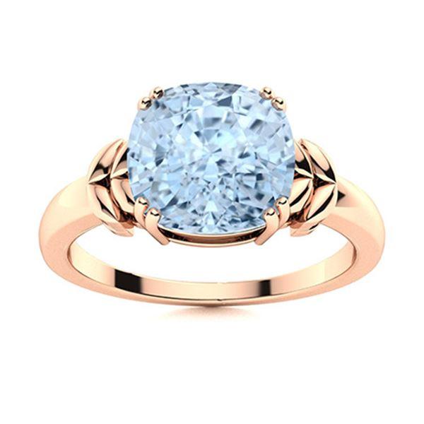 Natural 2.57 CTW Aquamarine Solitaire Ring 18K Rose Gold