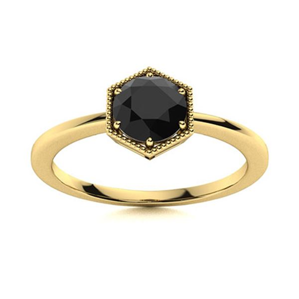Natural 0.62 CTW Onyx Solitaire Ring 18K Yellow Gold