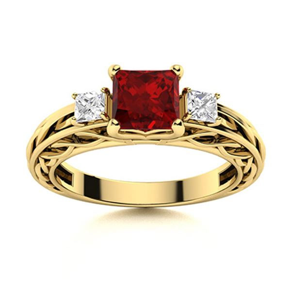 Natural 1.24 CTW Garnet & Diamond Engagement Ring 14K Yellow Gold
