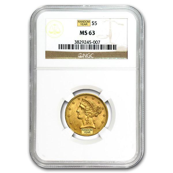 $5 Liberty Gold Half Eagle MS-63 NGC