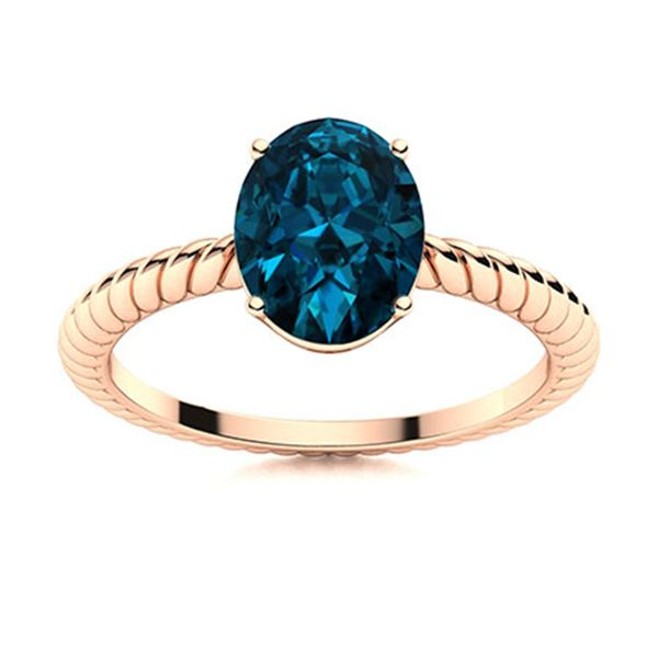 Natural 3.10 CTW Topaz Solitaire Ring 18K Rose Gold
