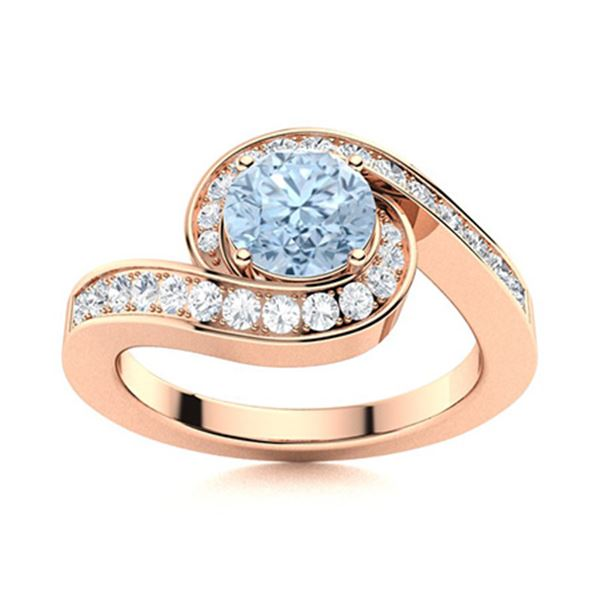 Natural 1.09 CTW Aquamarine & Diamond  Engagement Ring 14K Rose Gold