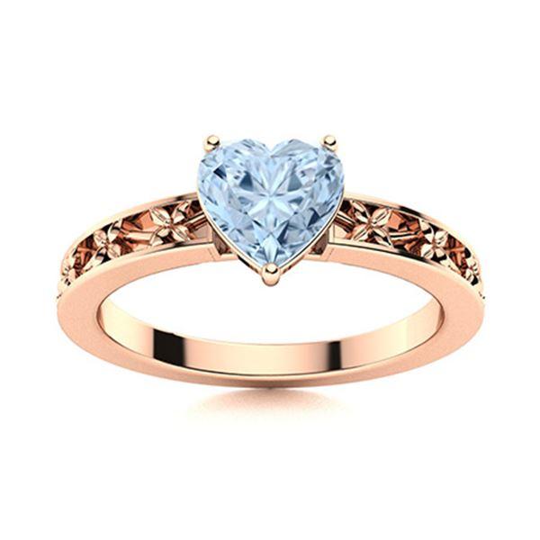 Natural 1.55 CTW Aquamarine Solitaire Ring 14K Rose Gold