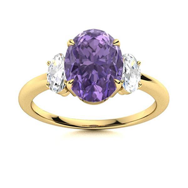 Natural 2.06 CTW Iolite & Diamond Engagement Ring 18K Yellow Gold