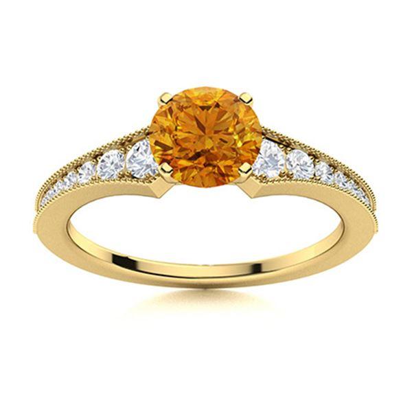 Natural 1.66 CTW Citrine & Diamond Engagement Ring 18K Yellow Gold