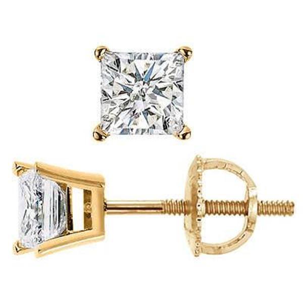 Natural 0.82 CTW Princess Cut Diamond Stud Earrings Basket Setting Push Back or Screw Back 14KT Yell