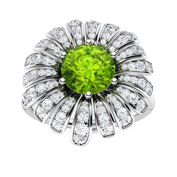 Natural 1.70 CTW Peridot & Diamond Engagement Ring 14K White Gold