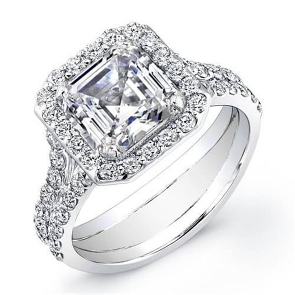 Natural 2.62 CTW Halo Asscher Cut Split Shank Diamond Engagement Ring 18KT White Gold