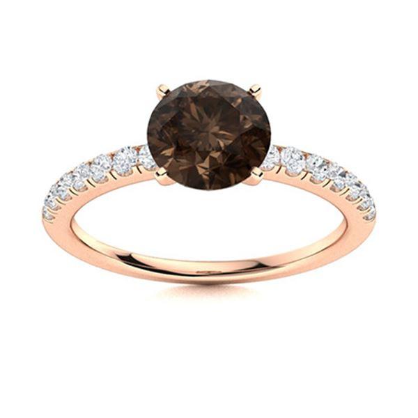 Natural 1.67 CTW Smoky Quartz & Diamond Engagement Ring 18K Rose Gold