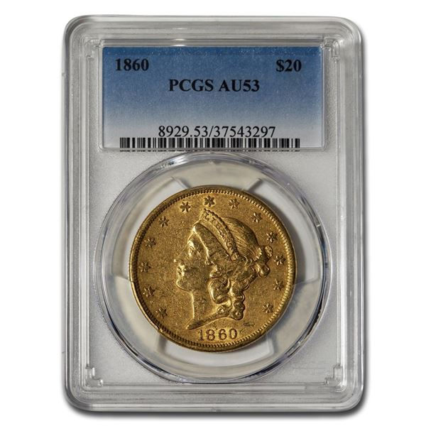 1860 $20 Liberty Gold Double Eagle AU-53 PCGS