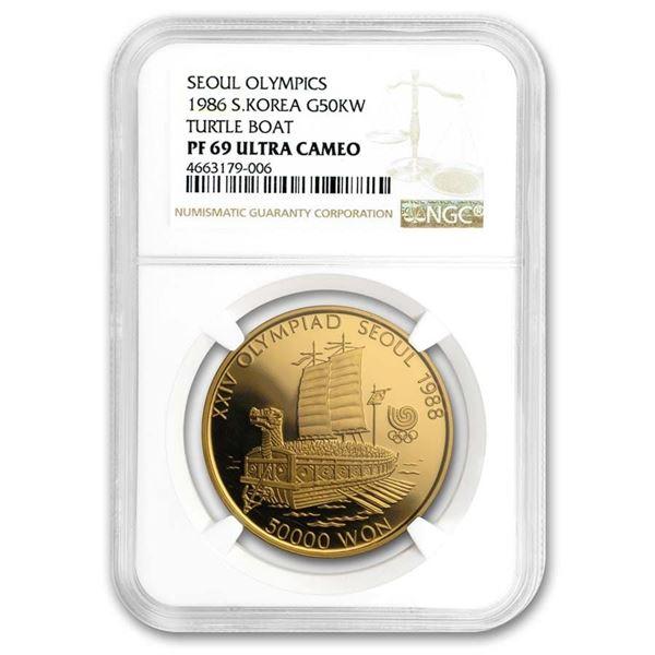 1986 South Korea 1 oz Gold 50,000 Won Olympics PF-69 NGC