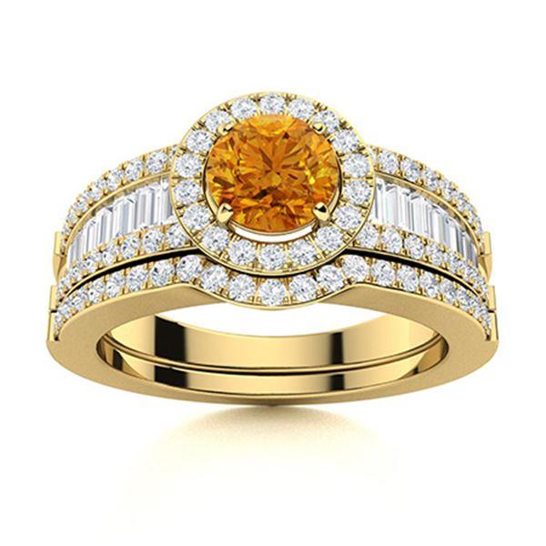 Natural 1.39 CTW Citrine & Diamond Engagement Ring 18K Yellow Gold