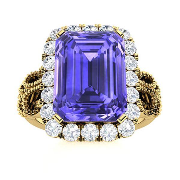 Natural 4.32 CTW Tanzanite & Diamond Engagement Ring 18K Yellow Gold