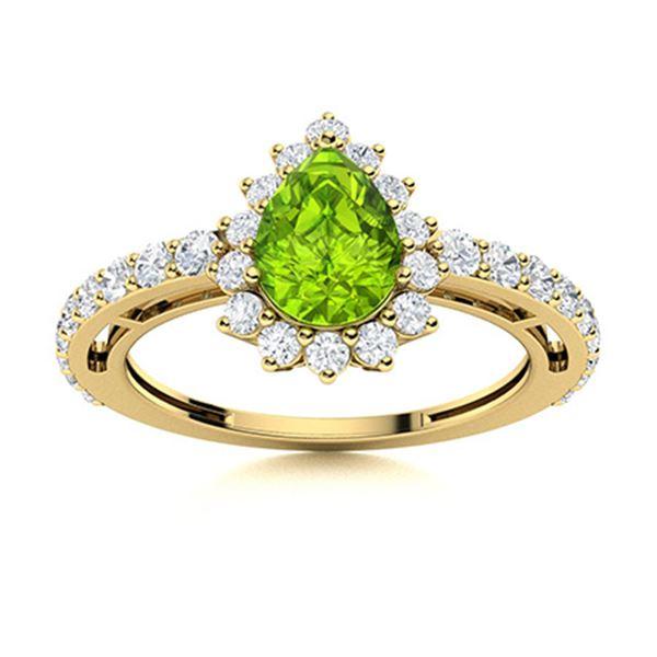 Natural 1.37 CTW Peridot & Diamond Engagement Ring 18K Yellow Gold