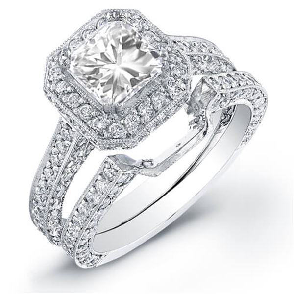Natural 2.42 CTW Halo Square Radiant Cut Diamond Ring 14KT White Gold