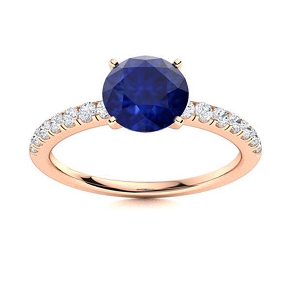 Natural 2.27 CTW Sapphire & Diamond Engagement Ring 18K Rose Gold