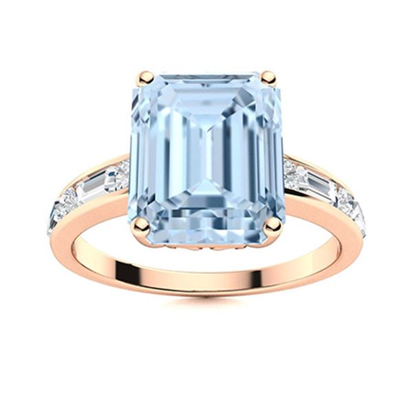 Natural 4.14 CTW Aquamarine & Diamond Engagement Ring 18K Rose Gold