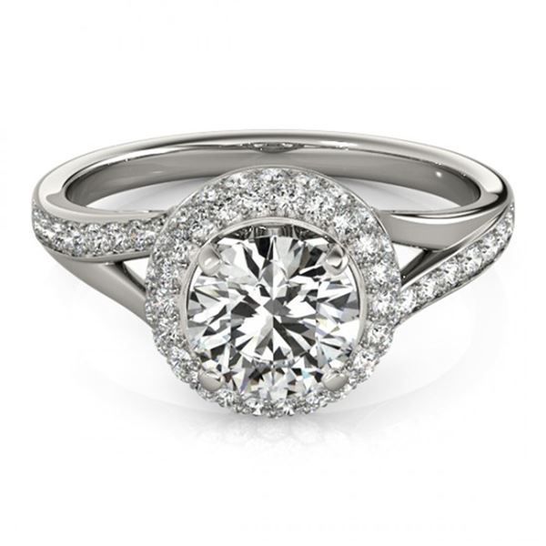 Natural 1.85 ctw Diamond Halo Ring 14k White Gold