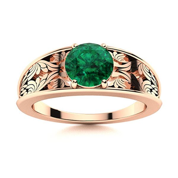 Natural 1.01 CTW Emerald Solitaire Ring 14K Rose Gold