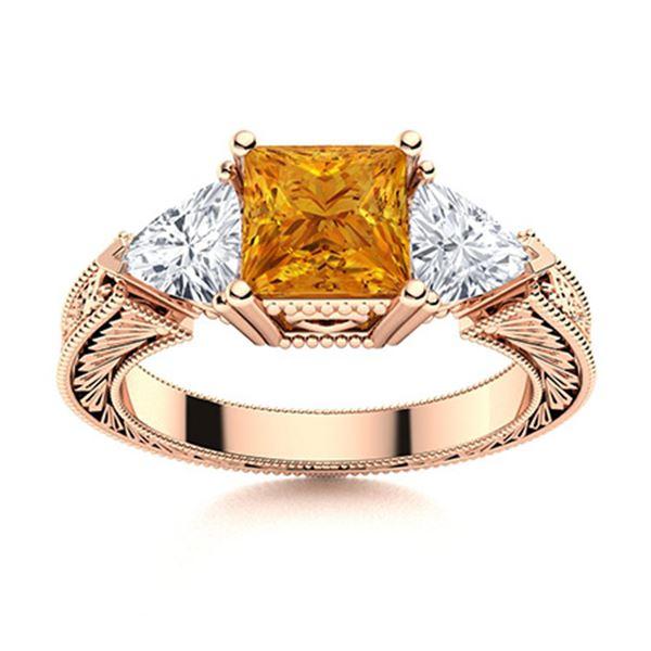 Natural 1.86 CTW Citrine & Diamond Engagement Ring 14K Rose Gold