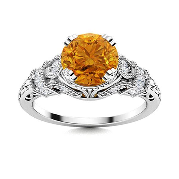 Natural 1.76 CTW Citrine & Diamond Engagement Ring 18K White Gold