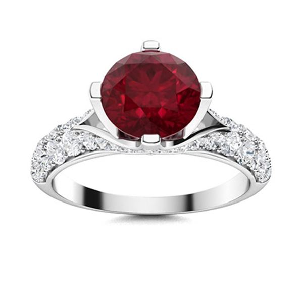 Natural 3.08 CTW Ruby & Diamond Engagement Ring 14K White Gold